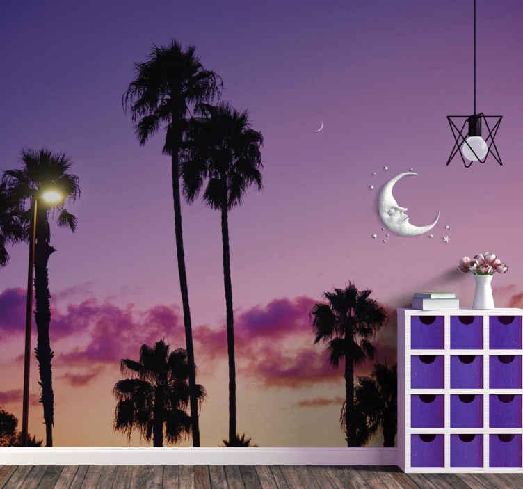 TenStickers. Papier peint palmier et ciel violet. Avec ce papier peint haut de palmiers, vos invités ne cesseront de parler de votre décoration intérieure! Placez-le dans votre salon, chambre.