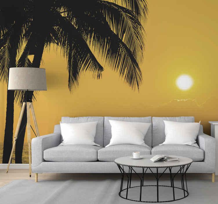"""""""Tenstickers"""". Gražus saulėlydis su palmėmis po jūros sienos piešiniu. Naudodamiesi šia paplūdimio peizažo kraštovaizdžio sienine tapyba, jums netrūks daugybės gražių saulėlydžio vaizdų jūroje su delnais."""