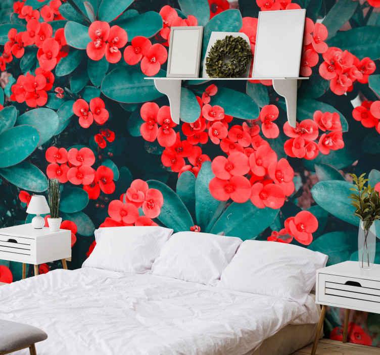 TenStickers. červené květiny nástěnná tapeta. Květinový nástěnný design červených květů na zeleném pozadí rostlin, ideální pro přirozený dotek vaší ložnice, kanceláře, obývacího pokoje.