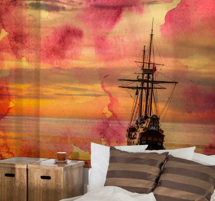 TenStickers. 바다 벽 벽화 아래 배와 yellowe 일몰. 사무실이나 거실을 장식하는 데 완벽한 바다와 작은 요트가있는 일몰의 삽화가있는 바다 벽화.