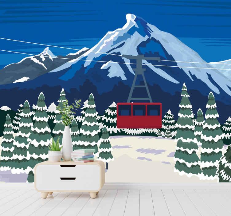 TenStickers. Fotomurais de Parede Neve paisagem suíça. Perfeito não só para o inverno e o natal, este papel de parede de paisagem transformará sua sala de estar em um lugar relaxante para toda a família