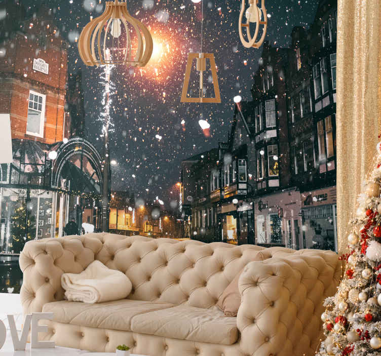 Tenstickers. Vianočná krajina tmavo modrá fototapeta. Užite si vianočného ducha po celý rok s touto fototapetou čarovnej krajiny. ľahko sa nanáša a ošetruje. Na čistenie stačí utrieť handričkou!