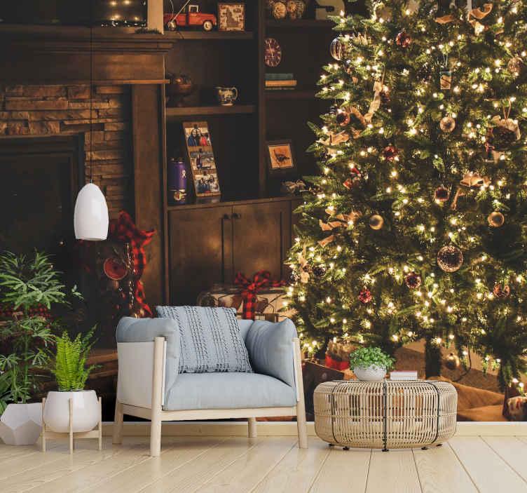 """""""Tenstickers"""". žiemos stebuklų dovanų fantazijos paveikslas. šis fantazijos paveikslas jūsų gyvenamajam kambariui suteiks modernumo ir originalumo. Pridėk jį į savo krepšelį dabar!"""