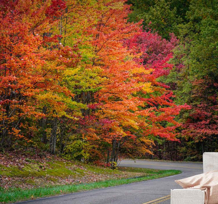 """""""Tenstickers"""". Kelias su raudonais medžiais medžio sienų paveikslas. Kodėl gi ne užsisakyti šios labai unikalios ir gražios medžio tapetų nuotraukos prieškambariui? šios kraštovaizdžio fono nuotraukos rodo visiškai nuostabų vaizdą"""