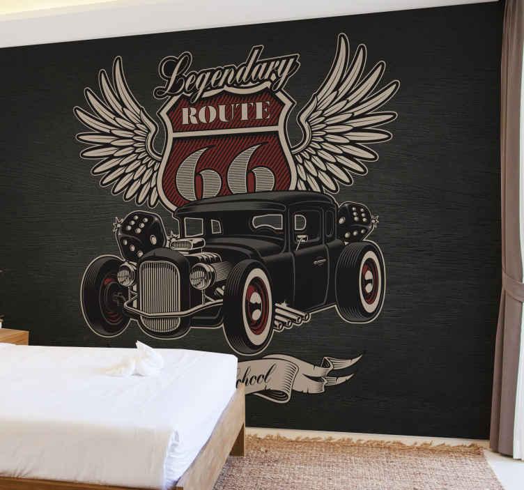 TenVinilo. Fotomural coche vintage ruta de servicio. Fantástico fotomural coche vintage para decorar tu dormitorio o salón con un toque gris. Elige tus medidas ¡Envío gratuito!