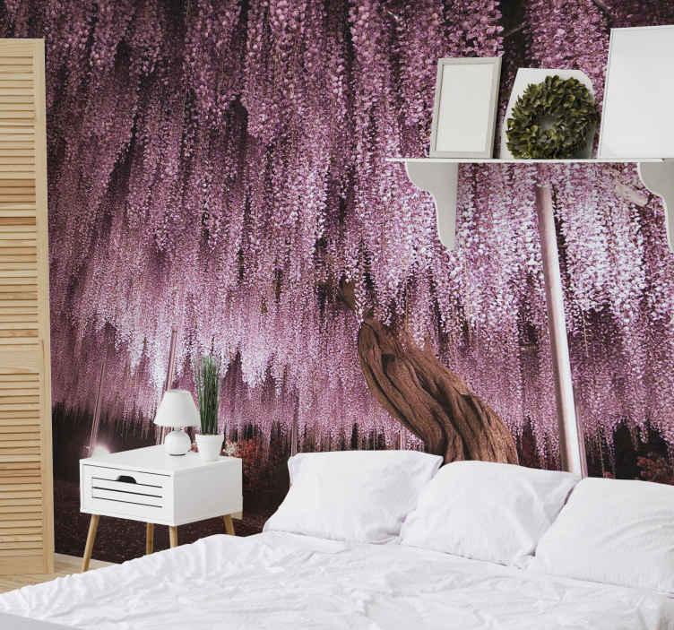 """""""Tenstickers"""". Didelis rožinio medžio sieninis paveikslas. Užsisakykite šį unikalų ir gražų rausvą sienų paveiksliuko dizainą jau šiandien ir nustebinkite jo nuostabia kokybe! Pristatymas į namus ir lengvai pritaikomas!"""