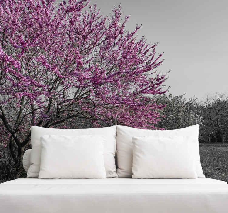 """""""Tenstickers"""". Didelis šviesiai rausvos medžio sienų paveikslas. Realistiškas didelis rausvos ir pilkos spalvos medžio sienų paveikslas namams, biurui ir kitoms vietoms. Jis pagamintas iš aukštos kokybės vinilo, patvarus ir lipnus."""