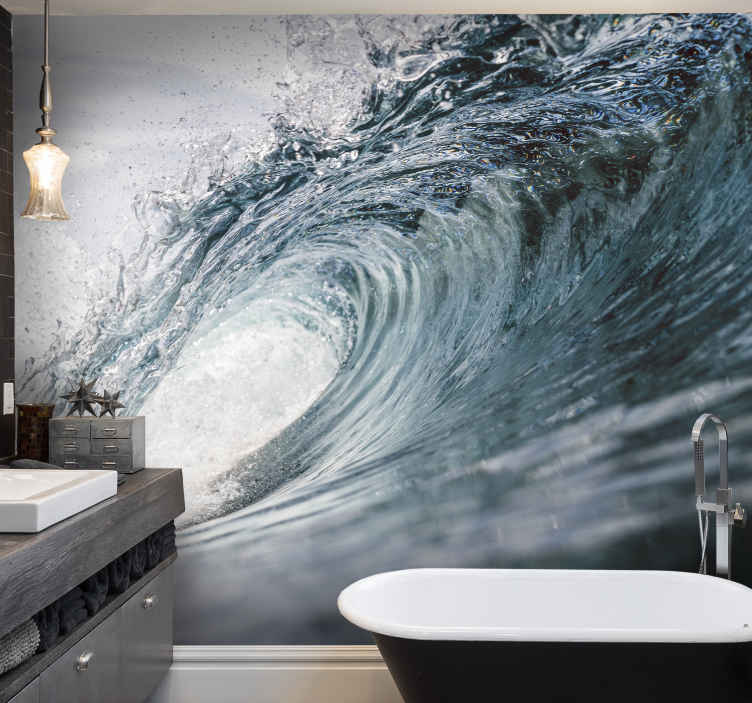 TenStickers. 바다 벽 벽화에 큰 파도. 불안정한 바다 파도의 아름답고 차분한 사진 벽화, 욕실이나 침실 벽을 장식하는 데 완벽합니다! 택배 가능.