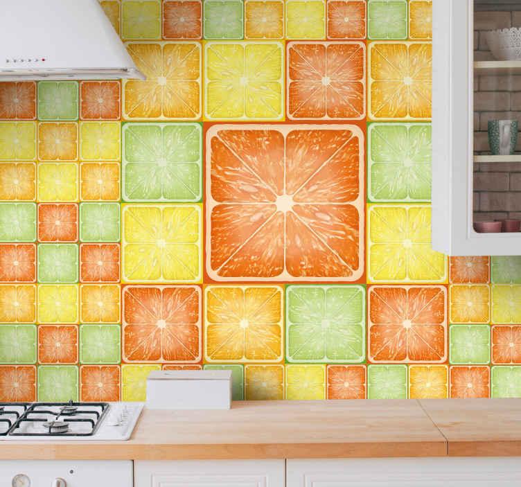 TenVinilo. Fotomural cocina azulejos de limones. Este colorido fotomural cocina de cítricos está fabricado con nada menos que el mejor material de calidad del mercado ¡Envío gratis!