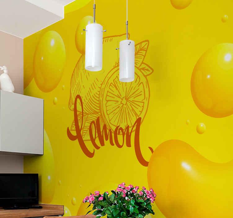 TenStickers. Oranžová a citronová skica žlutá nástěnná malba. Naše úžasná fototapeta se vzorem žluté oranžové a citronové pokryje prostor vaší kuchyně nebo restaurace. Snadno použitelné a odolné.