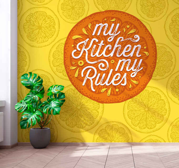TenStickers. Oranžne ročne risbe kuhinjskih fototapeta. Spremenite videz vašega kuhinjskega prostora s to neverjetno rezino stenske fototapeta oranžnega vzorca. Narejen je iz originalnega materiala in je zelo trpežen.