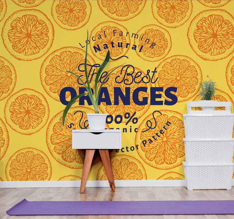 TenStickers. Oranžna ročna risba vzorca besedna stenska stena. Oranžni ročno risan vzorec fototapeta - ta fototapeta bi vaš prostor naredila zares lep, sijajen in privlačen.