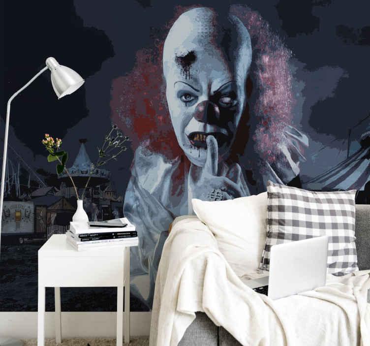 TenStickers. Poster da parete Murale di film horror spaventoso pagliaccio. Usa questo murale da parete da clown spaventoso nel tuo salotto per aggiungere carattere e stile alla tua casa, facile ed efficace!