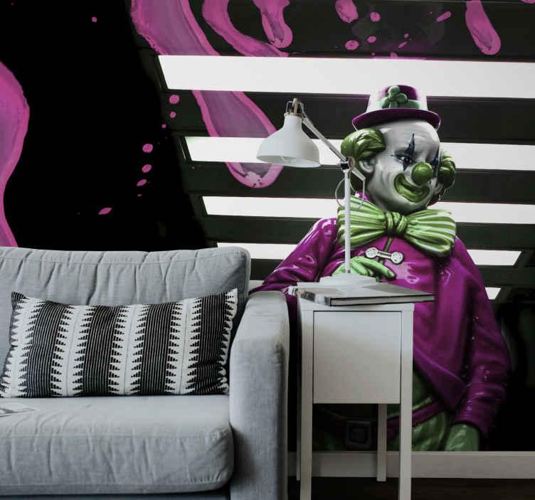 TenStickers. Zidni zid joker dnevne sobe. Ovaj zidni fotoaparat dodati će jedinstveni karakter i stvoriti nevjerojatnu atmosferu u vašem domu. Joker na tvom zidu! Lako se čisti materijal.