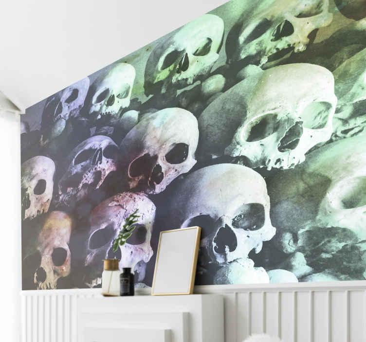 TenStickers. šarene zidne tapete za lubanje. Ovaj živopisni zidni dizajn lubanje može se isporučiti od kuće do vašeg praga u samo nekoliko dana. Kućna dostava uskoro!