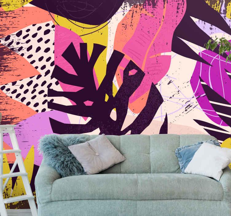 TenStickers. Grunge monstera zapusti zidni zid. Ta fototapeta za dnevno sobo je polna listov monstere v drznih barvah, kot so rožnate in vijolične. Naročite jo zdaj in jo dostavite na dom!