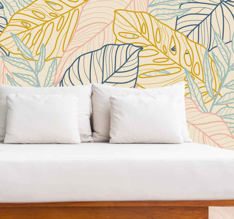 TenStickers. Pastelna monstera zapusti zidni zid. Zasnova tega naravnega fototapeta je polna velikih posnetkov strukture listov v pastelnih barvah, kot so modra, zelena, rumena in roza!