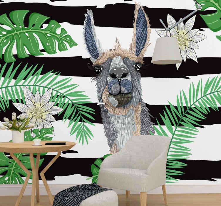 TenStickers. Lama s monsterom ostavlja zidni zid. Samo pogledajte ovog simpatičnog zidnog fresaka s lame i čudovišta! Stavite ga u svoju dnevnu sobu i gledajte kako se gosti zaljubljuju u njega! Kućna dostava!
