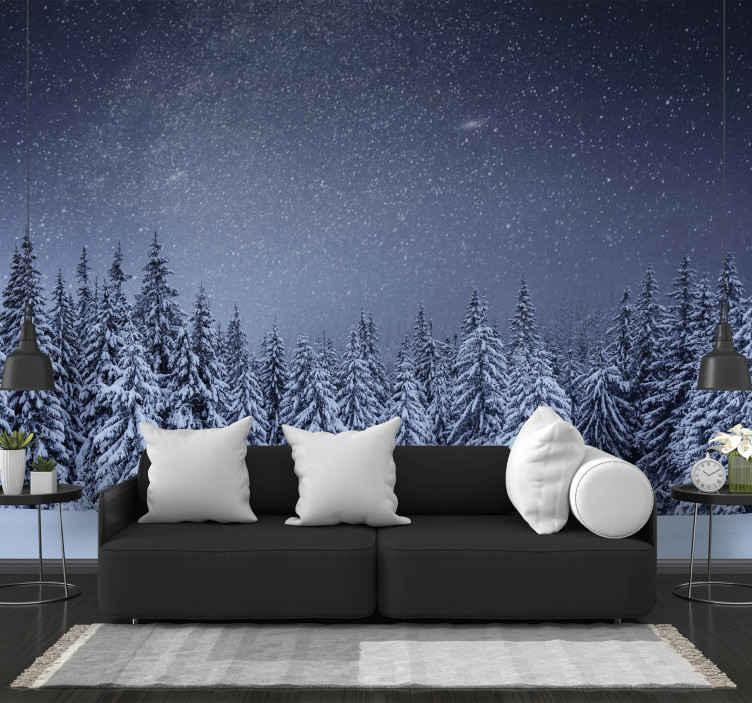 TenStickers. Bílé stromy modrá obloha strom fototapeta. Bílé stromy, sníh a tmavě modrá obloha na fototapetě! Je to krásný způsob, jak vyjádřit svou lásku k zimě! Dodávka domů k dispozici.