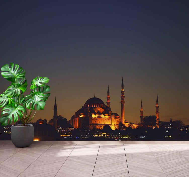 TenStickers. Fotomurale città Grande moschea della città. Questo magico paesaggio murale con l'immagine di una moschea di notte trasformerà il tuo soggiorno in un luogo magico. Consegna a domicilio.