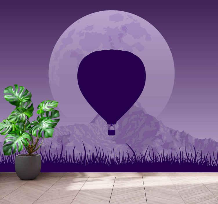 TenStickers. Fotomurais plantas e flores Prado roxo e balão de ar. O que poderia ser um presente melhor para dar a si mesmo ou algo que você conhece do que este produtode parede de paisagem único? Peça o seu hoje!