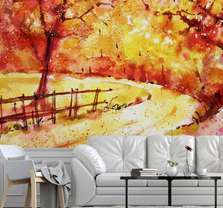 TenStickers. Akvarel krajolik urbana umjetnost zidni zid. Pogledajte ovaj zidni krajolik u jesenskom stilu! Prekrasne narančaste boje i jesenski park. Lako se čisti i dugotrajno djeluje.