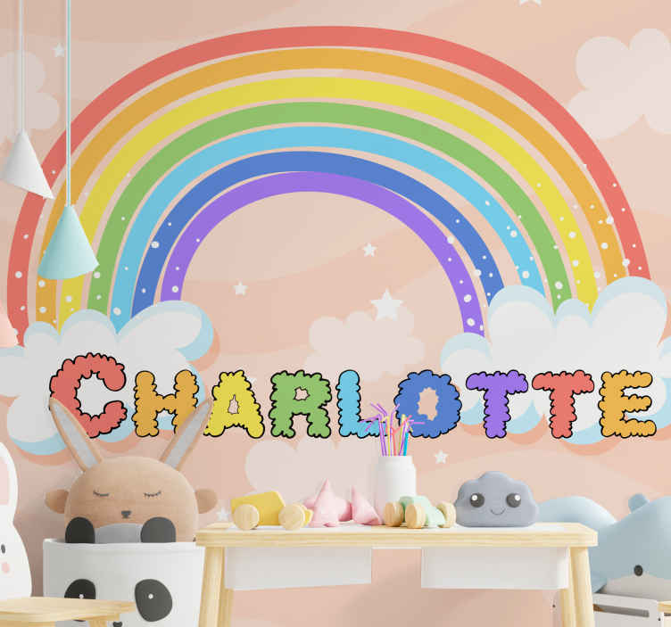 TenStickers. živopisni dugini. Zidna freska za dječju spavaću sobu s ilustracijom duga, oblaka i zvijezda. Svjež i umirujući zvjezdasti zidni zid za vrtić, igraonicu itd.