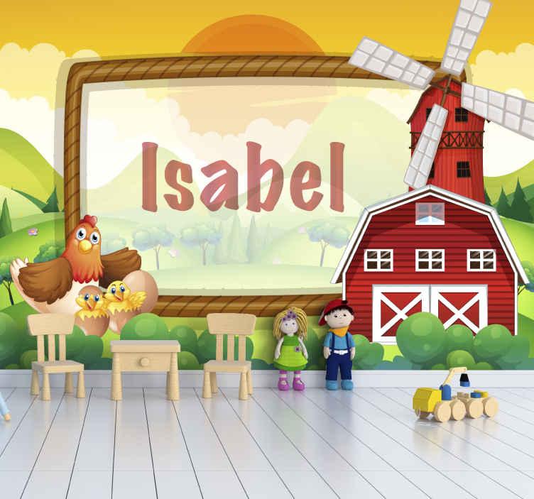 TenStickers. Photo murale Cadre de terres agricoles. Donnez à votre enfant la sensation de posséder une ferme en personnalisant ce cadre de terre agricole avec une stickers murale de maison de ferme.