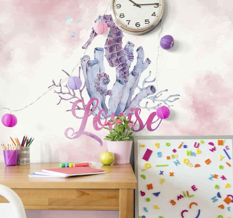 TENSTICKERS. 水彩タツノオトシゴパーソナライズされた子供の壁の壁画. あなたが選んだ名前の繊細なピンク色の水彩タツノオトシゴの美しい子供の寝室の壁の壁画。サイズをお選びください!