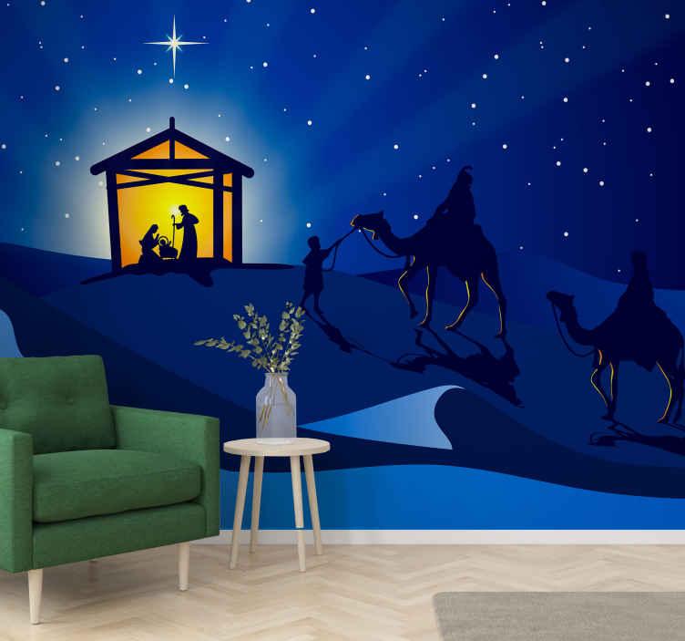 TenStickers. Preslatka dječja božićna scena zimski zid čudesne zemlje. Dobili smo vašu božićnu dekoraciju prekrivenu našim velikim zidnim freskama za božićne jaslice. Ilustracija božićnog dizajna govori o božiću.