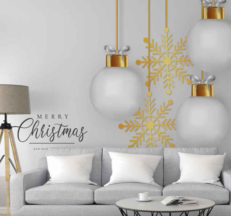TenStickers. Závěsné vánoční ozdoby zimní krajina divů fototapeta. X-mas nástěnná malba s pozadím navrženým v bílé barvě, která interpretuje sněhové období, pak s některými ilustracemi zlatých sněhových vloček a velkými závěsnými žárovkami.