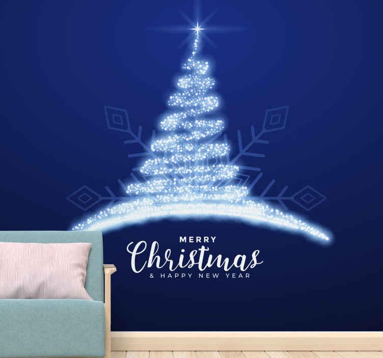 TenStickers. Tapisserie salon Bleu brillant. Papier peint de noël bleu scintillant - personnalisez n'importe quel espace mural avec ce papier peint pour les fêtes de noël.