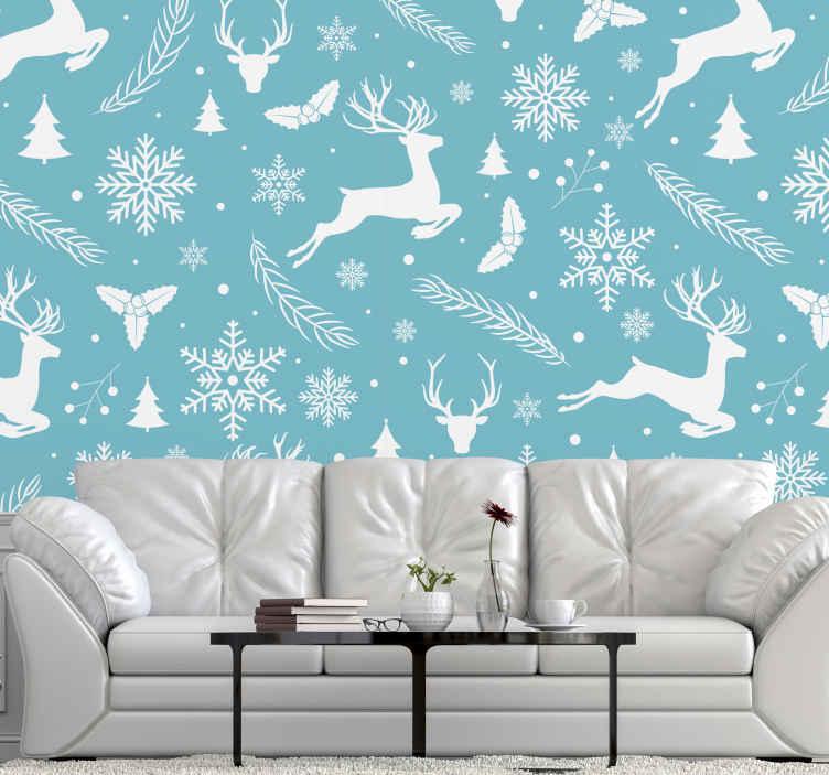 Tenstickers. Modro-biely vzor zimná krajina zázrakov fototapeta. Modro-biely vzor vianočná fototapeta predstavujúca dizajnové výtlačky sobov, snehových vločiek, jedlí vianočného stromu atď.