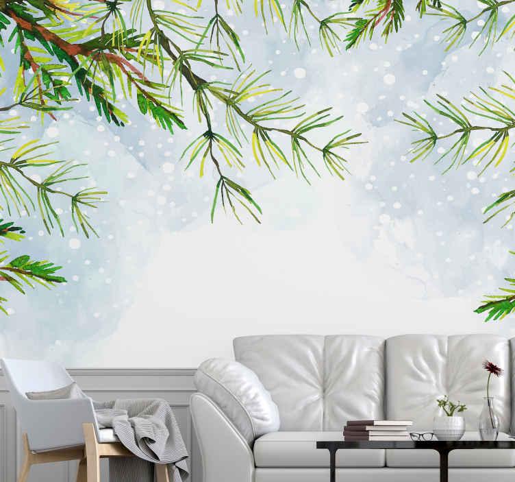 TenStickers. Fototapeta větve vánočního stromu. Tato přírodní fototapeta s větvemi vánočních stromků a zasněženým chladným pozadím udrží váš domov v chladu a stylu po celý rok. Donáška domů!