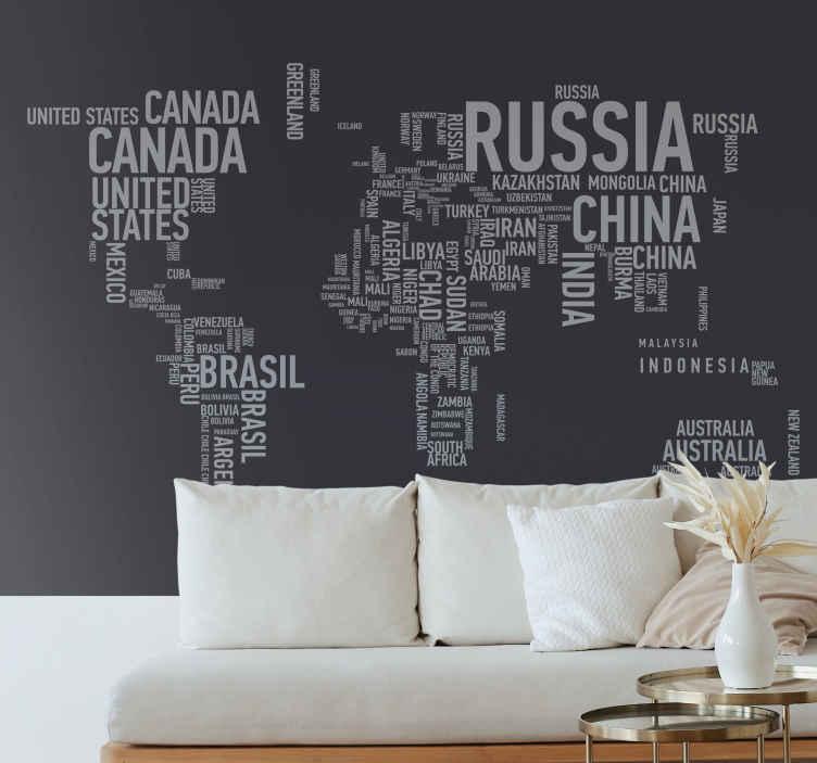 TenStickers. Parati per salone Mappa del mondo con i nomi. Mappa del mondo con nomi murale della mappa del mondo per gli amanti del design di impressioni politiche. Sarebbe una buona idea di sfondo.