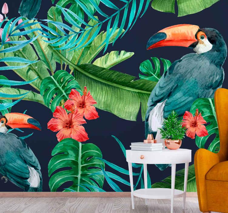 TenStickers. Stensko poslikavo tropskih dreves in ptic. Stenska stena narava in gozd, ki bi vaš prostor predstavila z lepim videzom papig na tropskih rastlinah z rdečimi in rožnatimi cvetovi.
