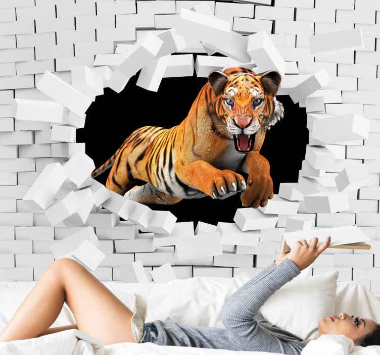 TenStickers. Papier peint effet 3D Tigre. Imaginez la quantité d'attraction et d'attention que ce tigre traversant une stickers murale en brique installerait sur votre espace.