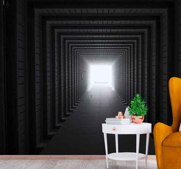 TenStickers. Papier peint mural effet texture Tunnel en béton. Papier peint tunnel en béton à effet visuel réaliste pour embellir l'espace mural de votre maison, bureau, espace professionnel, spa, salon, etc.