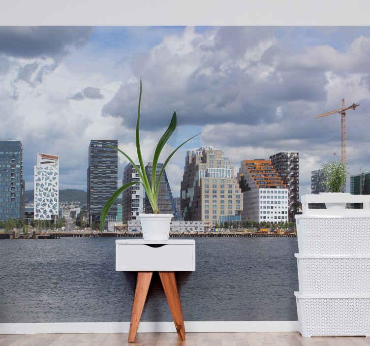 TenStickers. Oslo nebodera zidne tapete. Zašto ne biste u svoj prostor unijeli gradski pejzaž solo-a s ovim velikim zidnim freskom oslo skyline pokažite mu nebodere i važnu zgradu blizu mora