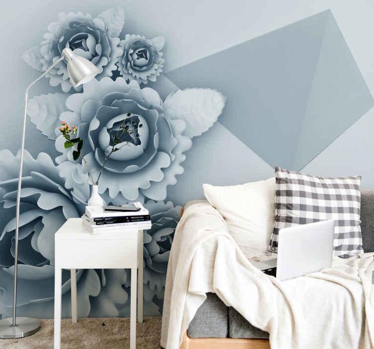 TenStickers. Geometrijski 3d cvjetni zidni zid 3d tapeta. Cvjetni zidni mural s ilustracijom plavog cvijeća geometrijskih oblika idealan za ukrašavanje zidova vaše dnevne sobe, spavaće sobe itd.