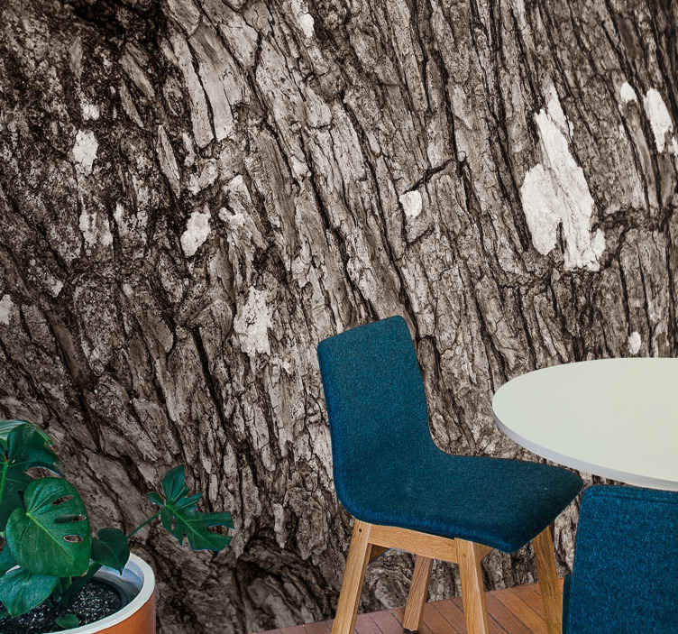Tenstickers. Textúrovaný strom 3d efekt fototapeta 3d nástenná tapeta. Nástenná tapeta na strom s ilustráciou kmeňa stromu s realistickým 3d efektom, ktorá dodá miestnosti, kde ju aplikujete, prirodzenú atmosféru.