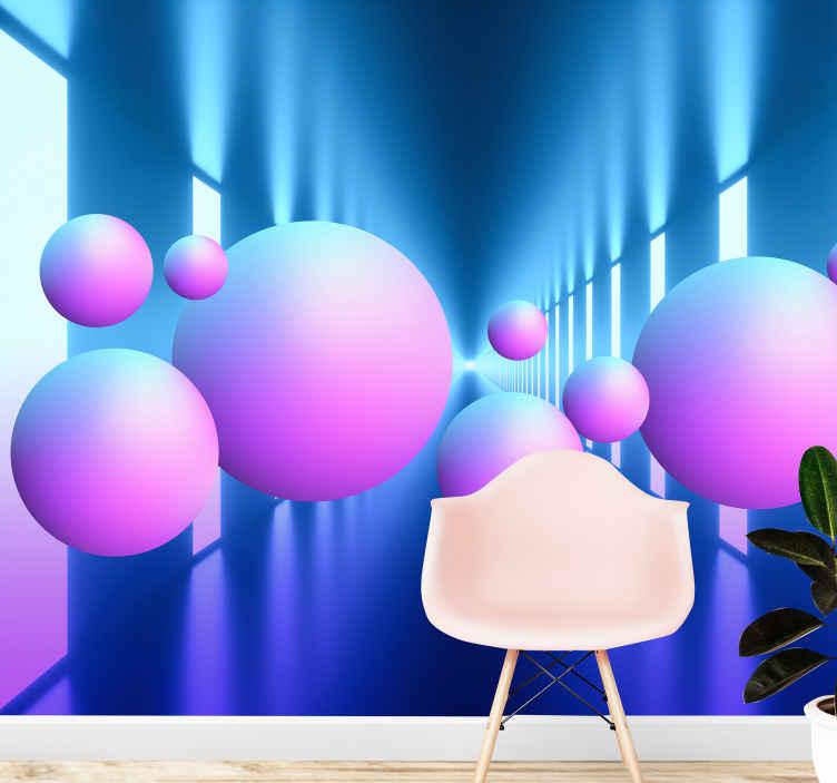 TenStickers. 3d plutajuće kuglice u zidnim tapetama 3d zidne tapete. 3d fototapeta s dizajnom plutajućih kuglica u svijetlim melodijama idealna za vas za ukrašavanje zida vaše blagovaonice, spavaće sobe, dnevnog boravka itd.