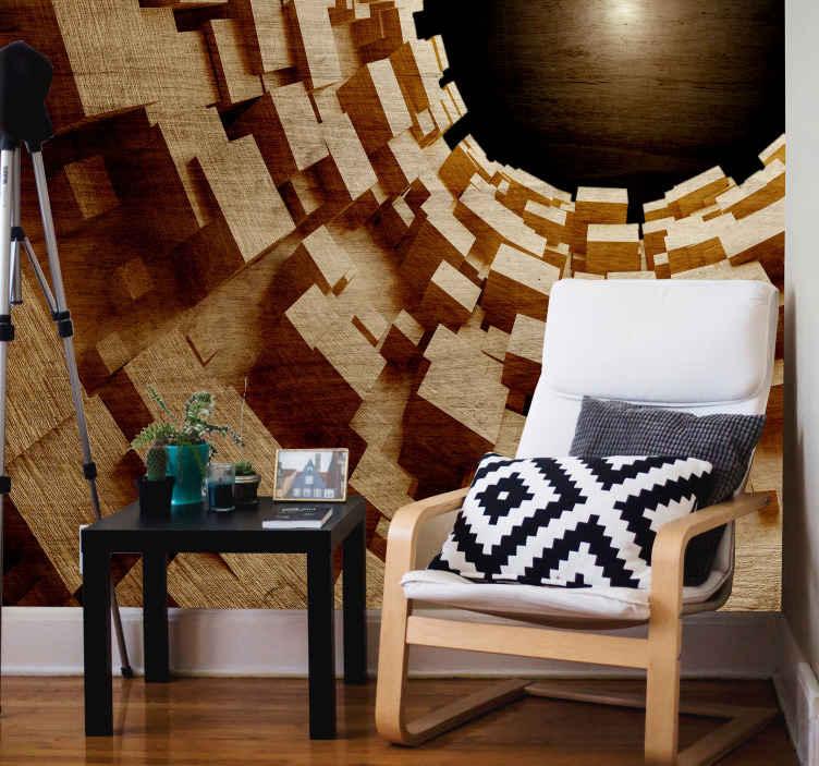 TenStickers. Fotomurais 3D Túnel de madeira com efeito 3d. fotomural vinílico de parede de túnel de madeira com efeito visual - um grande e surpreendente projeto de fotomural vinílico de parede para decorar qualquer espaço com uma presença impressionante.