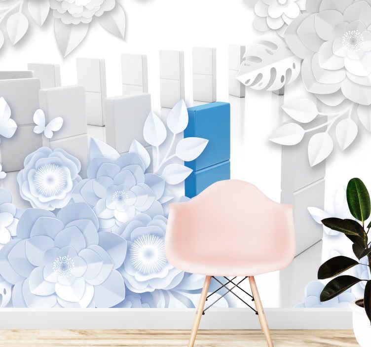 TenStickers. Květiny s domino efektem 3d nástěnná tapeta. Květiny s domino efektem 3d fototapeta na rekonstrukci prostoru na zdi. Velká nástěnná malba, která by pohltila prostor s tolika sladkostí.