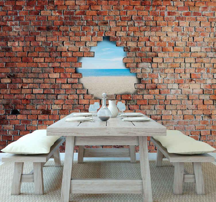 TenStickers. Opečna eksplozija s prilagodljivimi 3d stenskimi tapeta. Prilagodljiv 3d stenski zid iz stene - velik zidni zid je prilagodljiv po vaši lastni sliki. Enostaven za uporabo in trajen.
