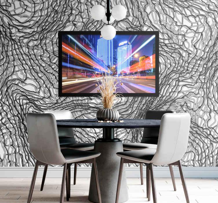 TenStickers. Nered s prilagodljivo stensko poslikavo s cvetjem za fotografije. Abstraktni neurejeni vzorec stenske poslikave s prilagodljivo sliko. Podobo vaše želje lahko prilagodite na fotografskem prostoru te zasnove.