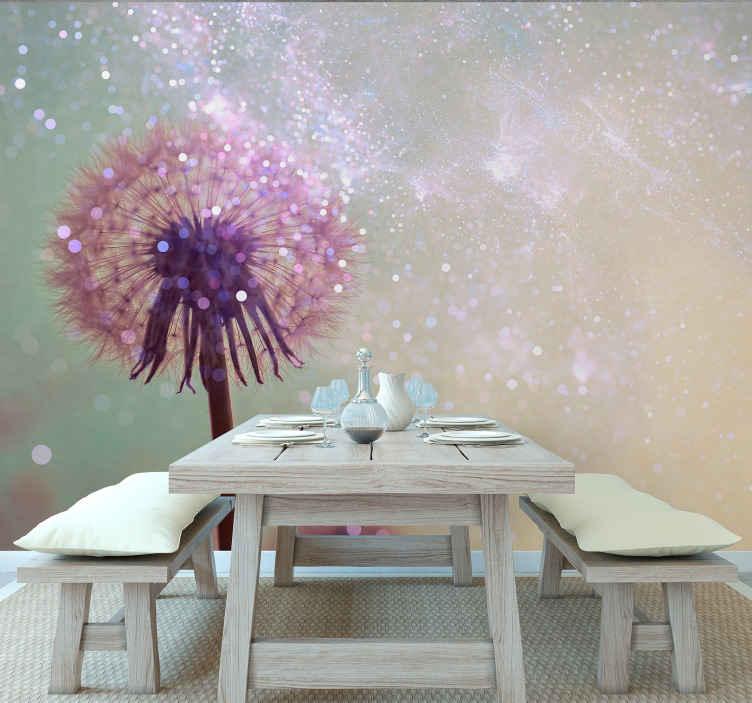 TenStickers. Pampeliška s jiskrou pampeliška nástěnná malba. Nechte svého hosta s podivnou myslí na to, o čem je váš prostor na zdi s touto nástěnnou malbou. Vyrobeno z kvalitního materiálu.