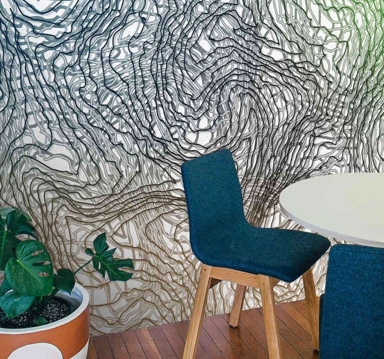TenStickers. Svijetli nered cvjetni zidni zid. Apstraktni neuredni zidni ukras za ukrašavanje vašeg doma. Ovo bi ukrasilo svaki prostor u vrlo ljupkoj i egzotičnoj prisutnosti.