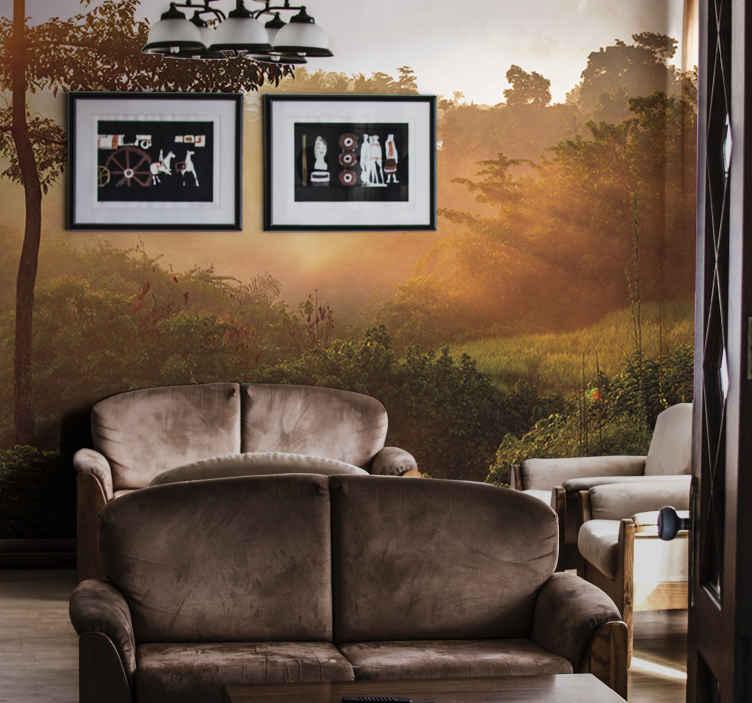 TenStickers. Izlazak sunca nad pozadinom zidnih slika šume džungle. Nevjerojatan zidni šumski zid! Idealno za uređenje u bilo kojoj sobi kod kuće! čini. Ne propustite priliku da imate elegantan dekor. Kućna dostava! Kupiti online!