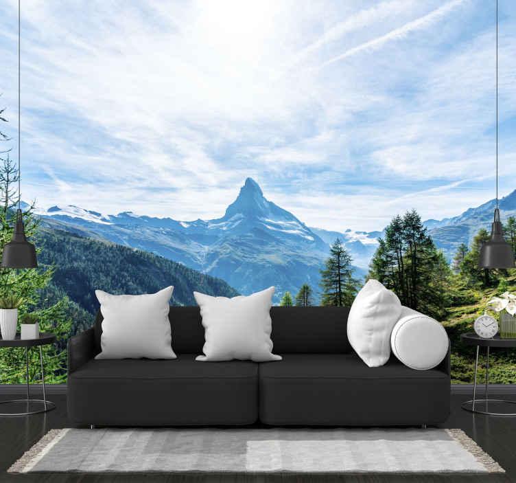 TenStickers. Matterhorn horská nástěnná malba. Tematická fototapeta matterhornu. Ideální pro zdobení doma i v kanceláři! Velmi snadné použití! Donáška domů! Koupit online!